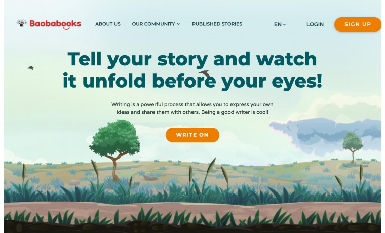 Baobabooks allows practicing creative thinking, self-expression, and collaboration through writing and publishing stories.