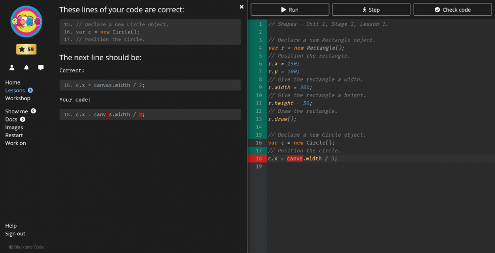 The feedback helps to correct your code.