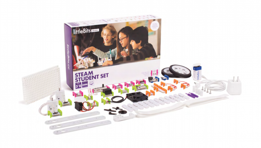 littleBits provides an engaging way to practice STEAM learning goals through building inventions with electronics kit.