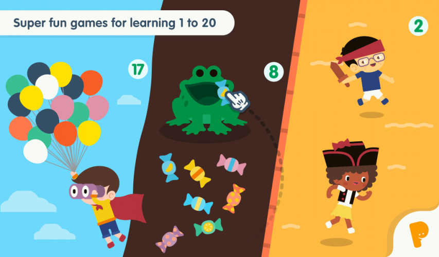 Varied game activities that make exploring the numbers interesting.