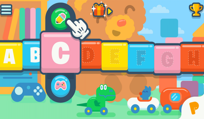 For each letter kids can rehearse to write the letter and play a related game.