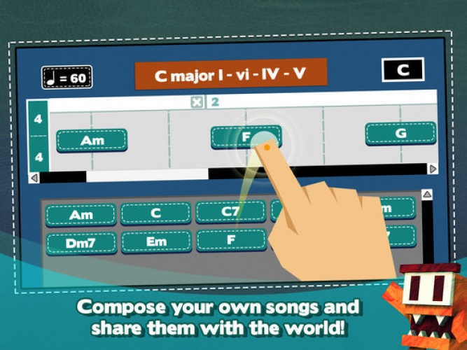 Self-expression and creativity are supported through the composing feature.