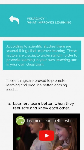 There are resources to further explain pedagogical principles.