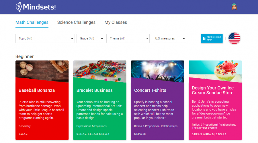 Mindsets! Challenges use real-world topics for Science and Math concept teaching.