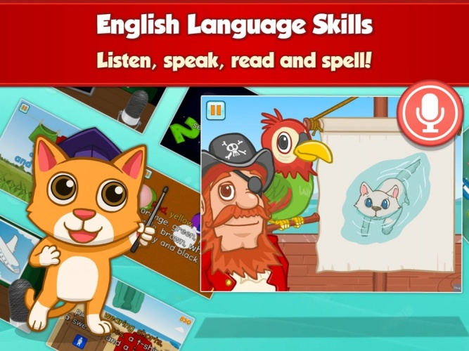 Practices the basics of the English vocabulary, cognitive skills and fine-motor skills in a fun way.