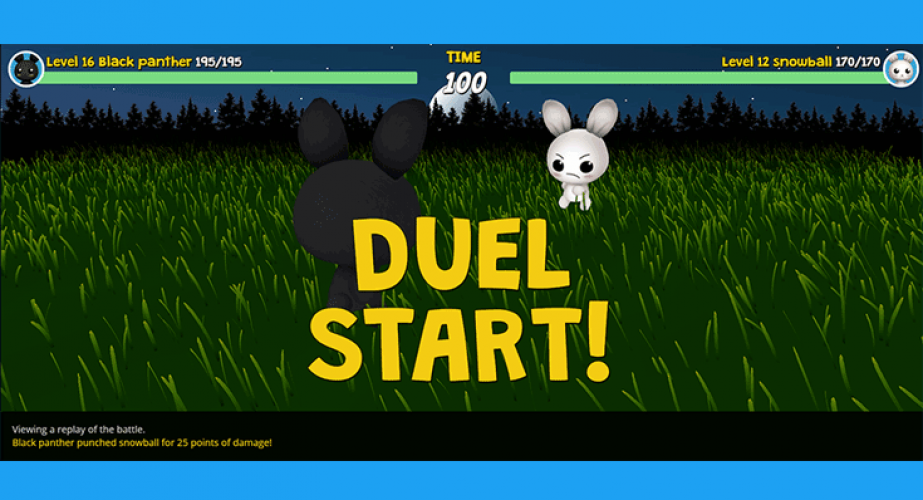 In Pet Duel the children can solve math problems in a competitive game