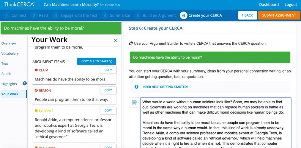 With ThinkCERCA, teachers can assign lessons with multiple tasks related to the text for the students, and assess the results.