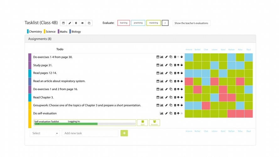 Teacher can give assignments with Qridi, follow student's progression and give personal feedback.