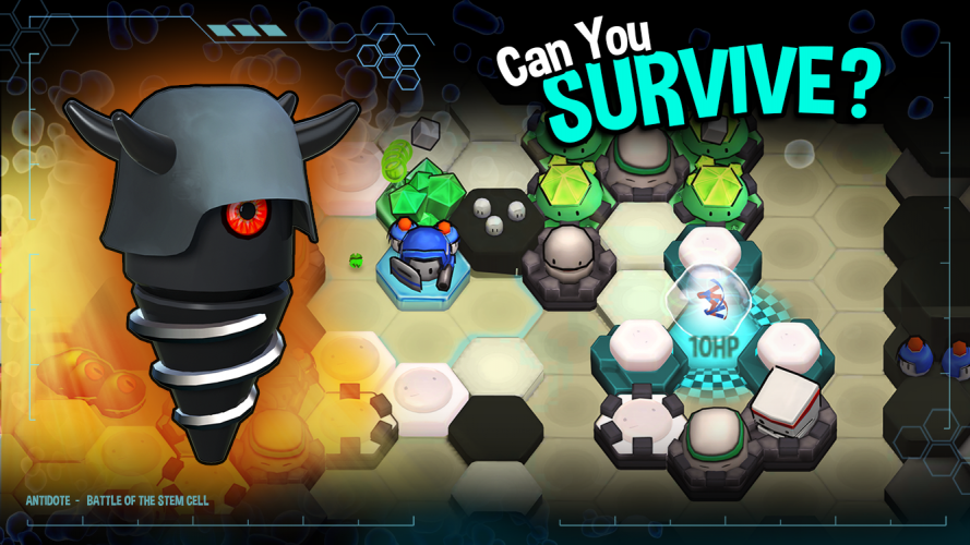 The player encounters bacteria and viruses and learns the differences between them through the game.