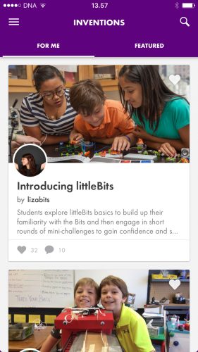 The littleBits application provides a learning community, with lesson plans and challenges.