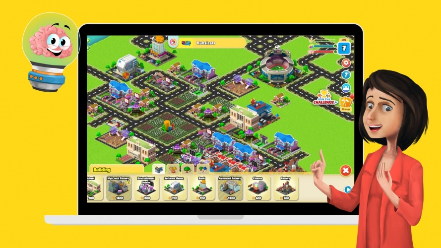 In STEAMVAlley the learner can build a city while learning.