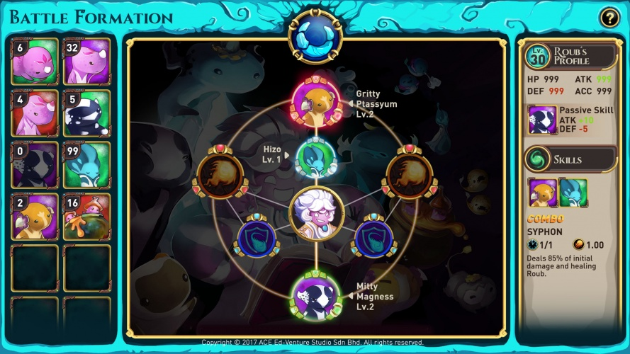 The game teaches about the qualities of different elements and their reactions, aiming to get students excited about science.