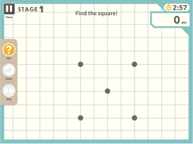 With Think!Think! players can choose from a large variety of geometric problem solving problems.