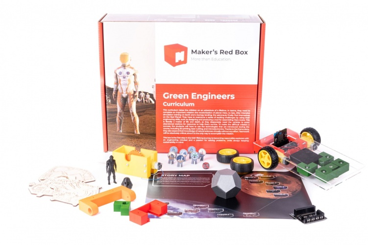 Maker's Red Box contains everything that a teacher and a group of 12 students need to start making. It consists of 16 two-hour-long sessions that build on each other.